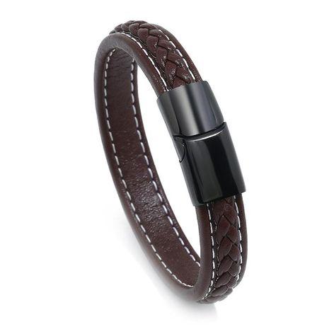 Nuevo brazalete magnético de acero inoxidable de cuero para hombres y mujeres NHPK193375's discount tags