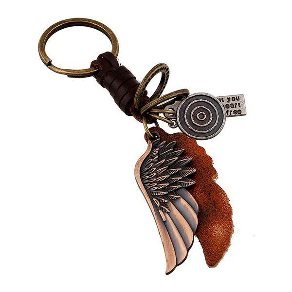 Llavero de cuero de aleación de ala Llavero de cuero de hombre tejido vintage NHPK193394