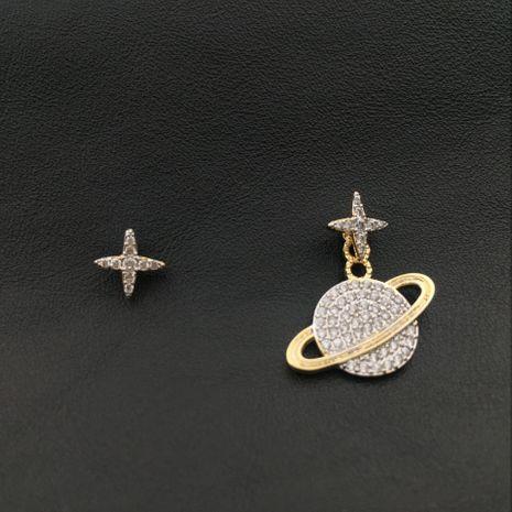 Aretes asimétricos de moda pequeños planetas NHWK193405's discount tags