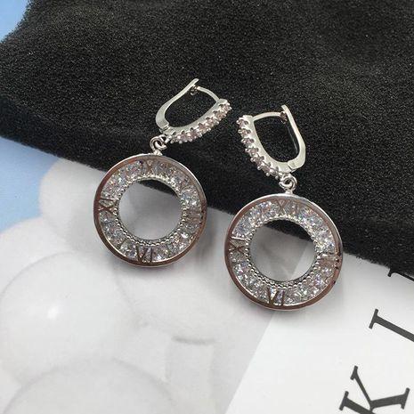 Aretes de lujo con micro incrustaciones de circón con números romanos NHWK193413's discount tags