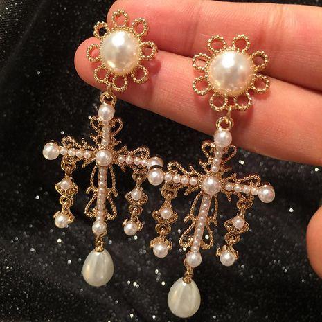 Aretes cruzados barrocos vintage de moda Pendientes largos de perlas de borla NHWK193418's discount tags