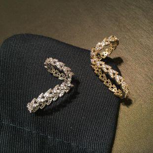 Korean fashion wheat ear ear clip geometric irregular micro-set earrings NHWK193455's discount tags