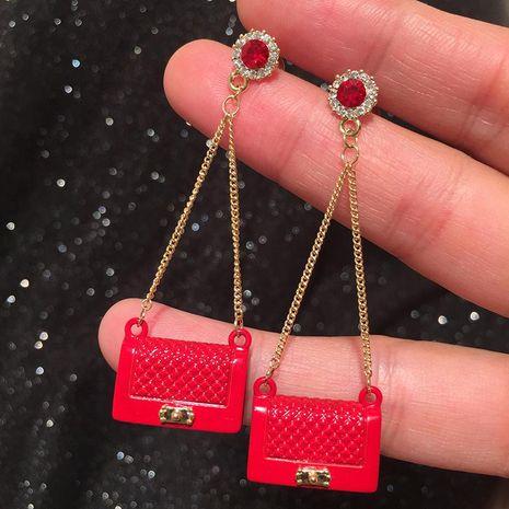 Aretes bolsa mujer borla larga S925 pendientes plata gas pendientes rojos NHWK193459's discount tags