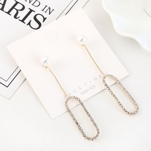 Korean gold-plated creative fashion new fringed pearl hollow S925 silver earrings NHPS193460's discount tags
