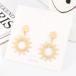 Real gold-plated fashion sun flower S925 silver earrings NHPS193461's discount tags