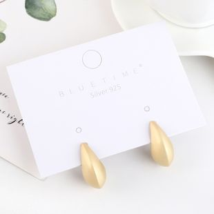 Real gold-plated fashion simple half month S925 silver earrings NHPS193464's discount tags