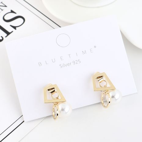 Korean trendy simple small fresh gold-plated pearl S925 silver earrings NHPS193506's discount tags
