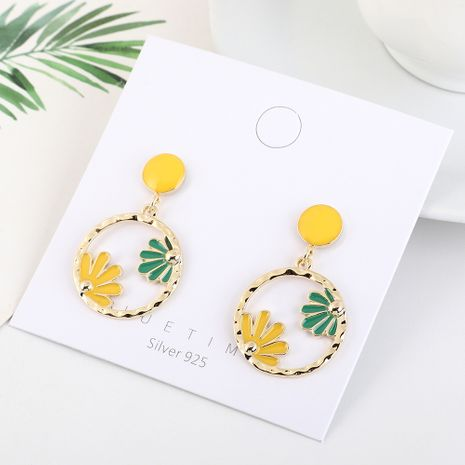 Korean wild gold-plated circle painting oil hollow S925 silver earrings NHPS193508's discount tags