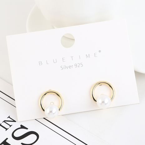 Korean plated real gold fashion retro circle pearl S925 silver earrings NHPS193512's discount tags