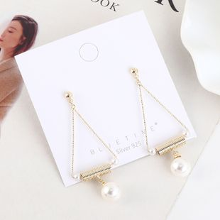 Korean plated real gold simple retro pearl hollow S925 silver earrings NHPS193516's discount tags