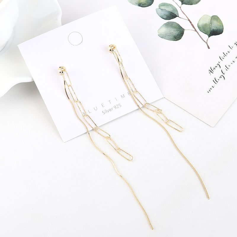 Real gold plated fashion long fringed S925 silver earrings NHPS193519