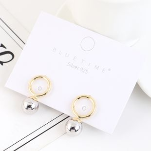 Korean plated real gold retro simple small circle pearl S925 silver earrings NHPS193520's discount tags