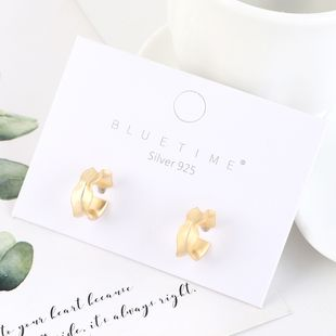 Real gold-plated creative minimalist hollow S925 silver earrings NHPS193522's discount tags