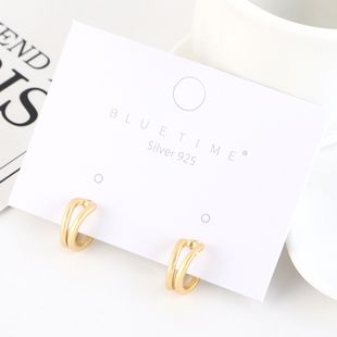 Korean gold-plated fashion simple hollow S925 silver earrings NHPS193524's discount tags