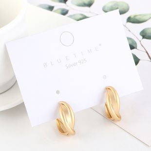 Real gold plated simple semicircle hollow S925 silver earrings NHPS193525's discount tags