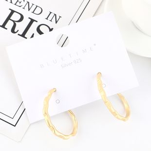 Real gold plated fashion wild hollow S925 silver earrings NHPS193526's discount tags