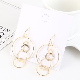 Korean plated real gold fashion wild circle hollow S925 silver earrings NHPS193528's discount tags