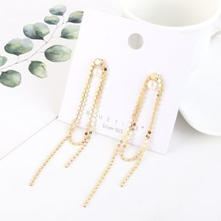 Gold-plated long fringed pearl S925 silver earrings NHPS193530's discount tags
