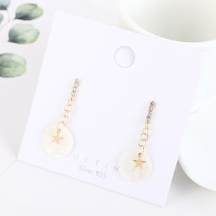 Real Gold Plated Fashion Tassel Water Wafer Stars S925 Silver Earrings NHPS193531's discount tags
