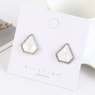 Real gold plated simple fashion wild acrylic S925 silver earrings NHPS193532's discount tags