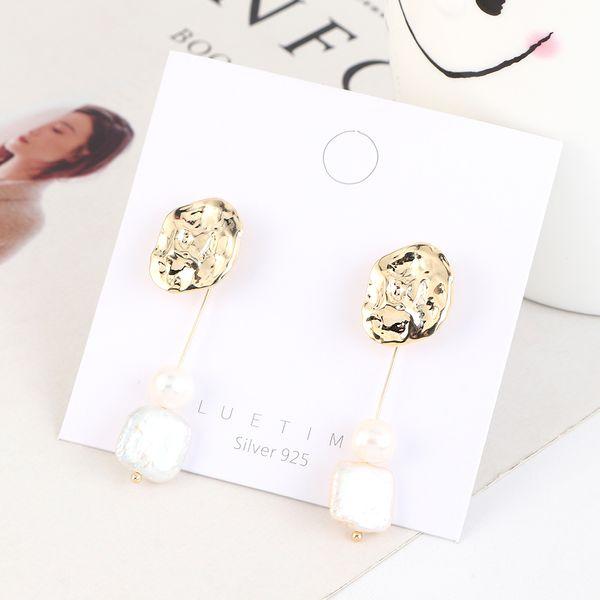 Aretes de plata con perlas con flecos minimalistas retro de moda de oro real plateado coreano S925 NHPS193533