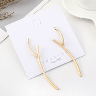 Fashion real gold plated frosty wind branches S925 silver earrings NHPS193536's discount tags