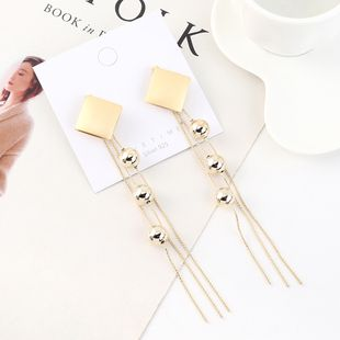 Fashion Gold Plated Long Tassel Ball S925 Silver Earrings NHPS193538's discount tags