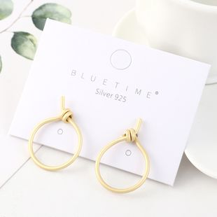 Korean fashion minimalist gold plated small circle hollow S925 silver earrings NHPS193540's discount tags