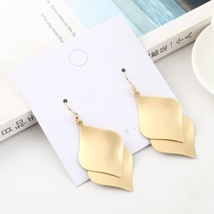Fashion exaggerated wild gold-plated creative double-layer lotus leaf earrings NHPS193542's discount tags