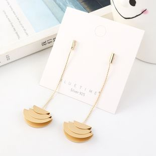 Fashion plated real gold frosty wind long tassel S925 silver earrings NHPS193544's discount tags