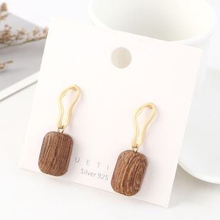Simple and stylish gold plated wild wood S925 silver earrings NHPS193548's discount tags