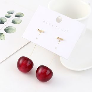 Korean creative fashion exaggerated real gold plated cherry S925 silver earrings NHPS193554's discount tags