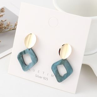 Korean fashion simple and pure gold plated wild resin hollow S925 silver earrings NHPS193558's discount tags