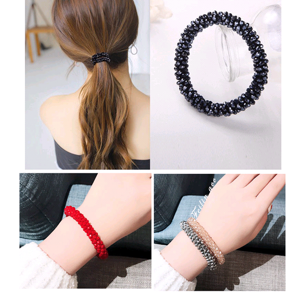 Korean fashion crystal elastic rubber band ponytail hair accessories NHSC193682