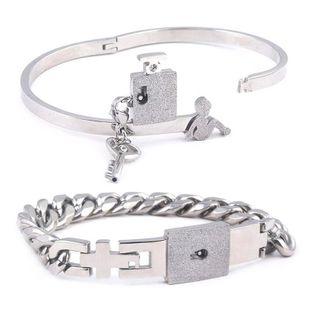 Valentine's Day Couple Lock Bracelet Wholesale Bracelet Love Lock Bracelet Gift NHRJ193580's discount tags