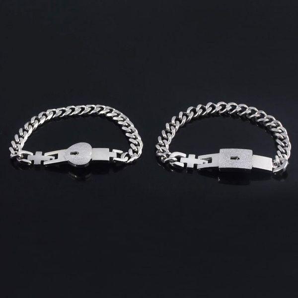 Couple New Bracelet Valentine's Day Titanium Steel Couple Bracelet Love Lock Jewelry Gift NHRJ193581
