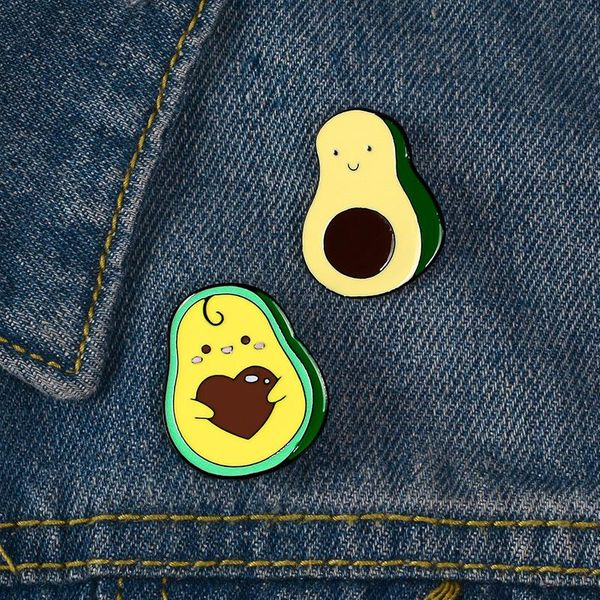 New alloy avocado brooch student cartoon cute cowboy badge enamel brooch wholesale NHBO193584