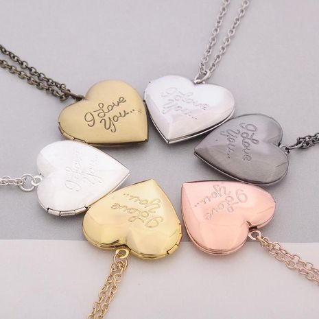 Valentine's Day Couple Necklace Wholesale Hot Sale Jewelry Pendant Love Photo Box Necklace NHBO193589's discount tags