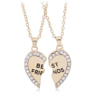 Valentine's Day couple necklace wholesale fashion best friends two petal stitching love diamond necklace NHBO193590's discount tags