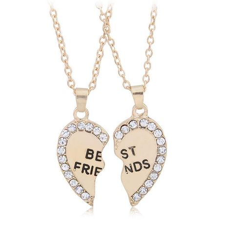 Collar de pareja de San Valentín al por mayor de moda mejores amigos dos pétalos de amor collar de diamantes NHBO193590's discount tags