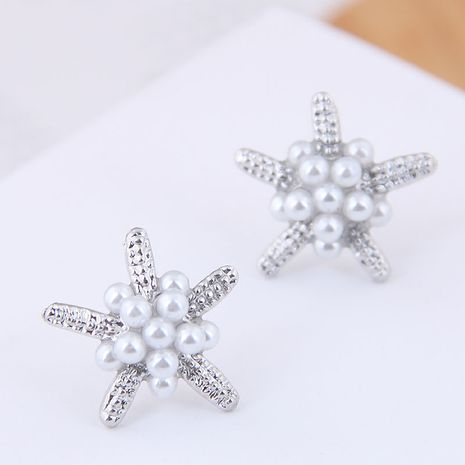Delicada moda coreana dulce OL simples pequeños aretes de perlas de estrella de mar NHSC193676's discount tags