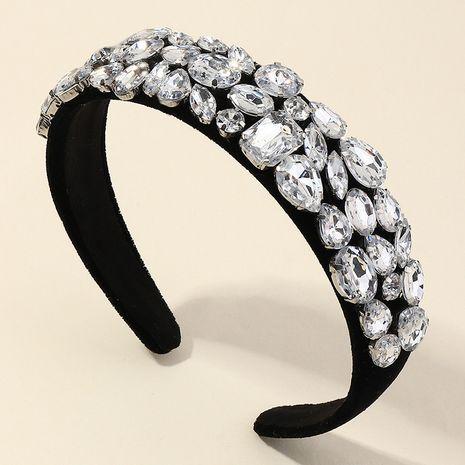 nouveau bandeau exagéré filles zircon strass verre diamant or flanelle large bord NHAU267348's discount tags