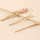Korean letter pearl trend smiley girls hairpin word clip side clip bangs clip wholesale NHAU267352