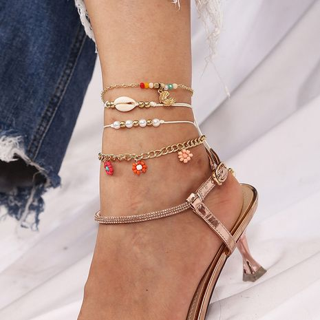 Bohemian hand-woven rice beads anklet shell pearl foot accessories NHLA267370's discount tags