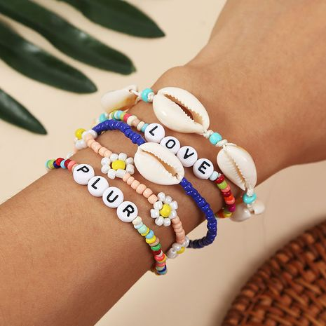Bohemian hand-woven rice beads shell letter bracelet set NHLA267366's discount tags