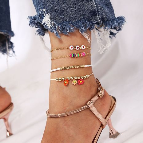 Perles de riz de fleurs faites à la main de Bohême tissage des bracelets de cheville en céramique douce NHLA267368's discount tags