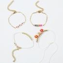 Bohemian handmade flower rice beads weaving soft ceramic anklets set NHLA267368