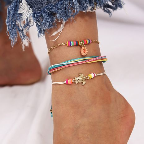 Beach style woven handmade rice beads tortoise three soft clay suit anklets  NHLA267367's discount tags