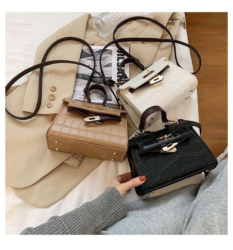 autumn new Kelly stone pattern retro leather stereotyped ladies handbag NHLH267387