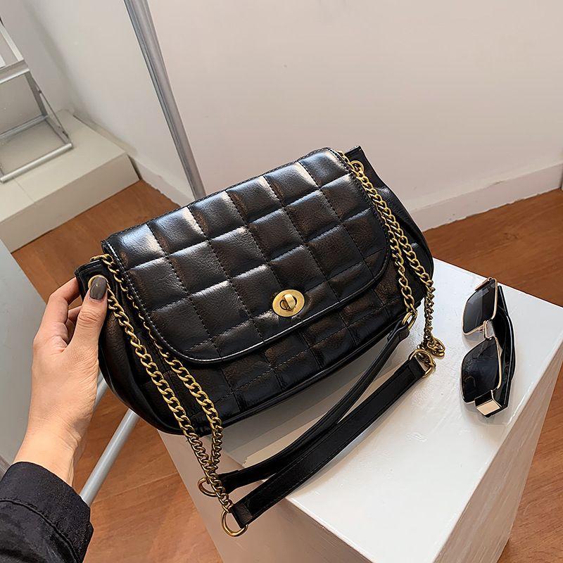 women's autumn new trendy fashion one-shoulder small square wild chain messenger bag NHLH267391